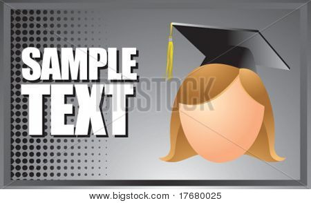 famale graduate on horizontal silver banner
