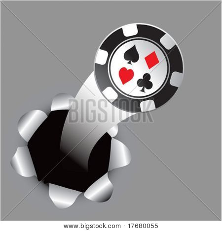 poker chip out of a paper hole