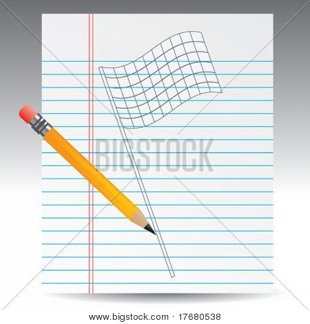 racing checker flag on notebook paper