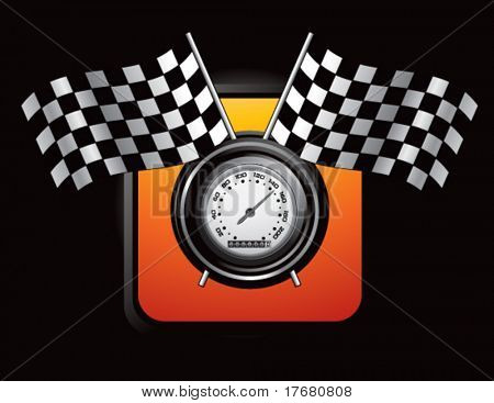 racing checkered flags and speedometer on orange web button