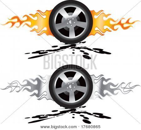 flaming racing tires on mud