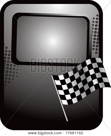 racing checkered flag on template banner