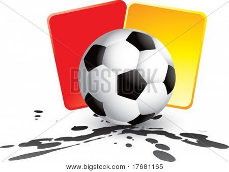 soccer ball and penalty cards on mud