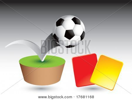 soccer ball and penalty cards on grass patch