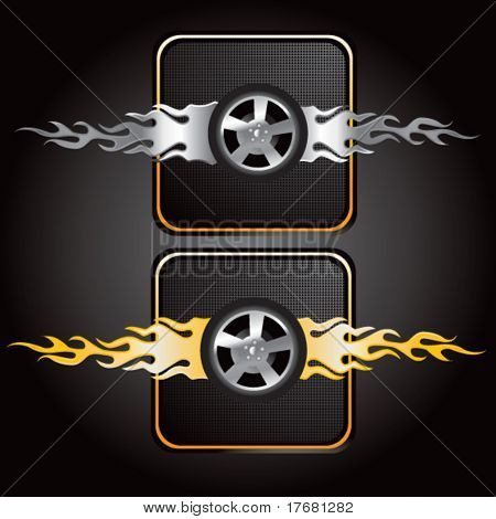 flaming tires icons