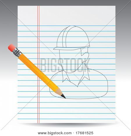 construction worker drawn on notebook paper