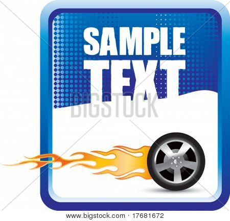 flaming tire on blue banner