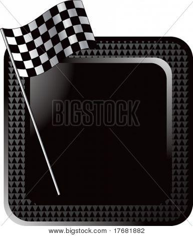 Bandera de cuadros de carreras en el botón de la web de semitono negro