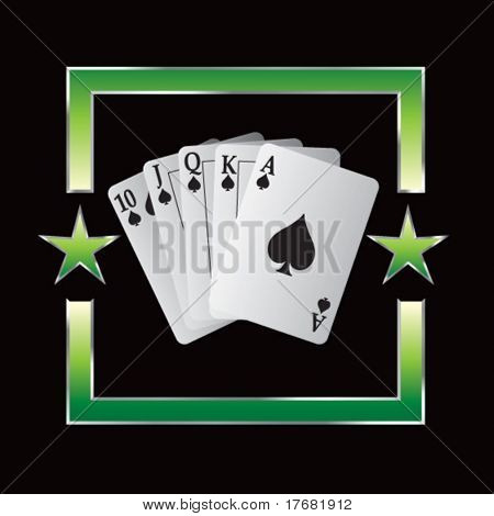 royal flush playing cards on star background