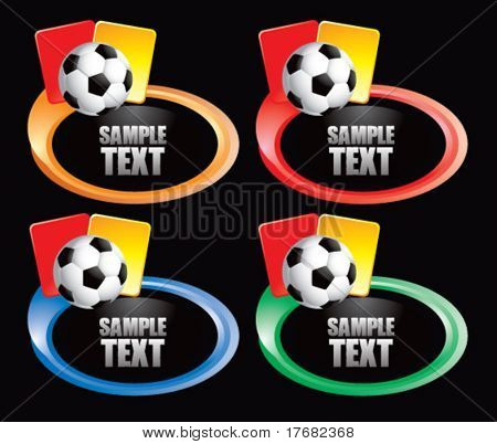 soccer ball and penalty cards on colored swoosh