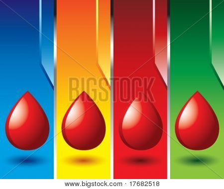 blood droplet on colored vertical banners