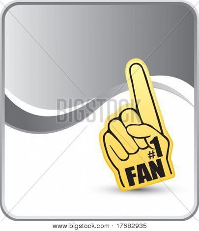number one fan foam hand on silver background