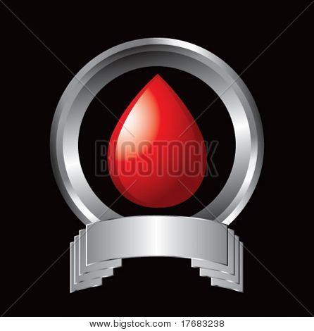 blood droplet on silver display