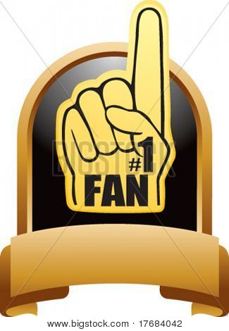 number one foam hand on gold display