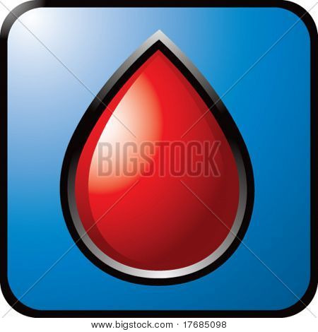 blood droplet on blue web button