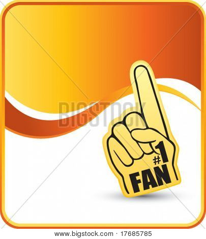 number one fan foam hand on orange background