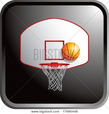 basketball backboard and hoop on black web button
