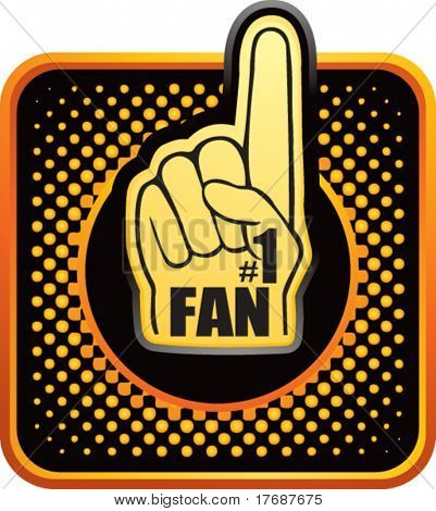 number one fan foam hand on black and orange halftone web button