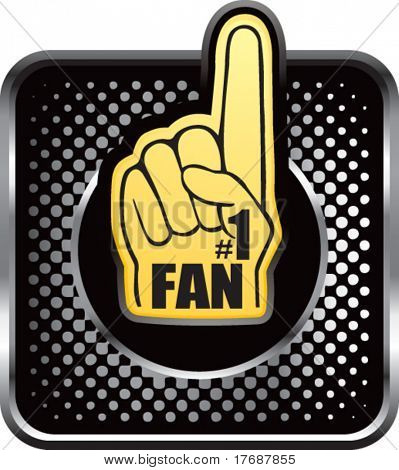 number one fan foam hand on black halftone web button