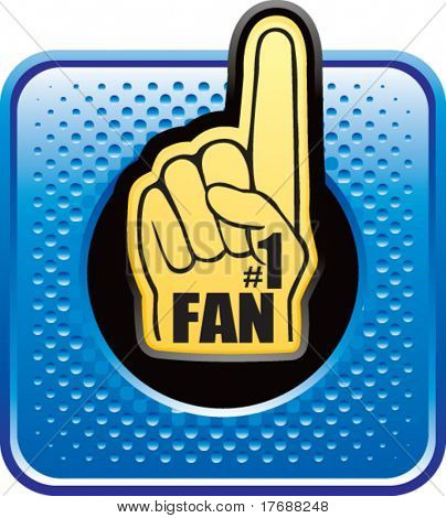 Number one Fan Schaum Hand auf blau Halbton Web button