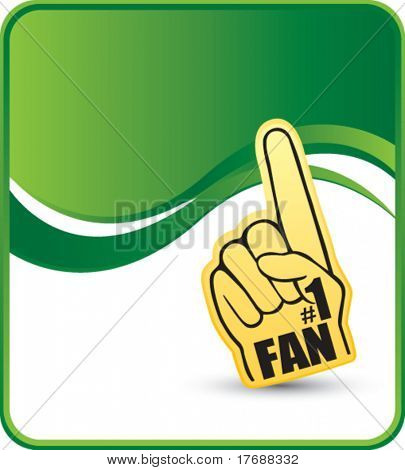 number one foam hand on green wave background