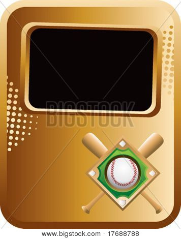 baseball diamond and crossed bats on gold template banner