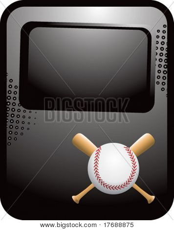 baseball and crossed bats on black reflective template banner