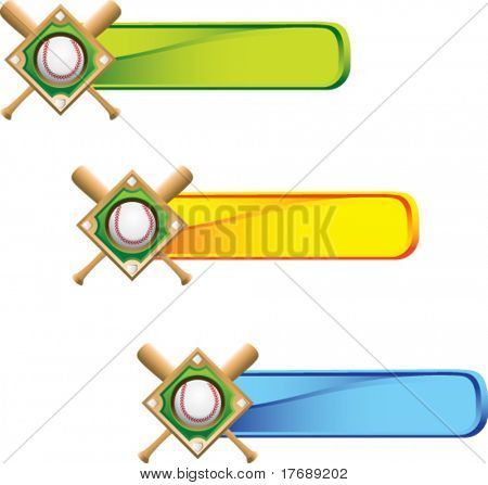 baseball diamond and crossed bats on bold advertisement banner
