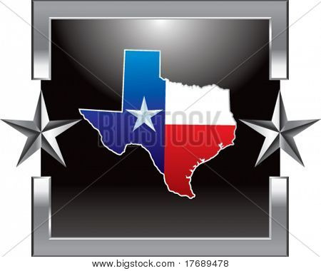 texas icon on silver star background