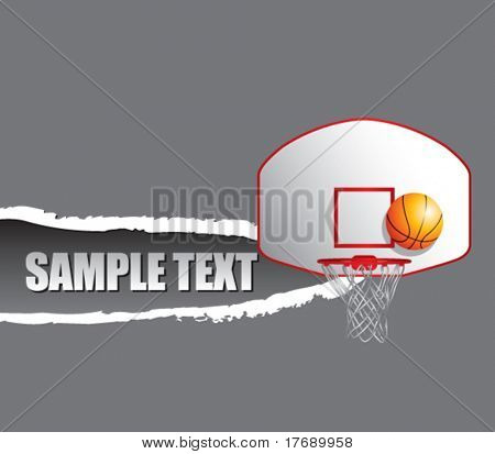 basketball hoop and backboard on a ripped paper background