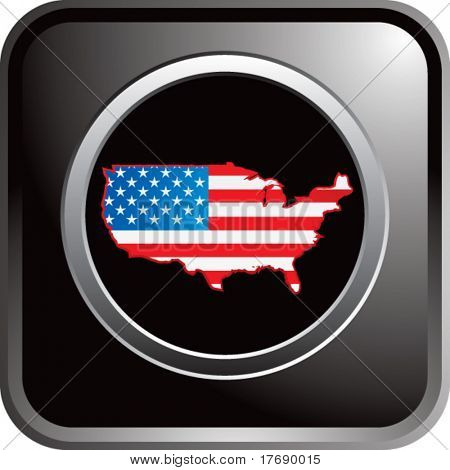 united states flag icon on glossy web button