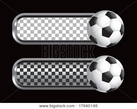 soccer ball on diamond checkered banners