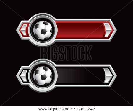 soccer ball on royal horizontal banners