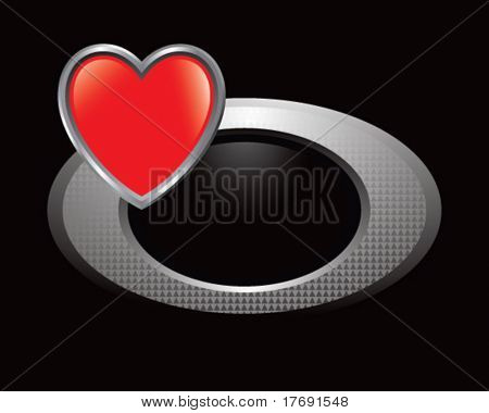 heart shape on silver circle icon