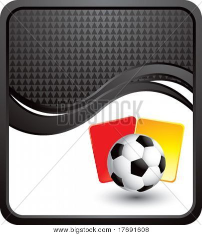 soccer ball with red and yellow cards on black wave background