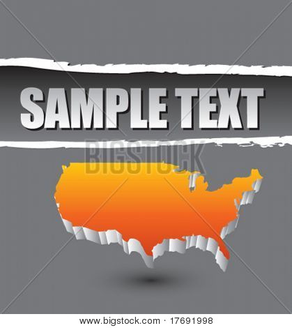 america shape on ripped banner