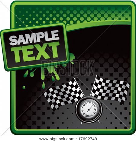 speedometer and checkered flags on green splat banner