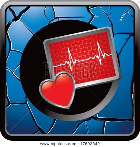 heart beat monitor on blue cracked icon