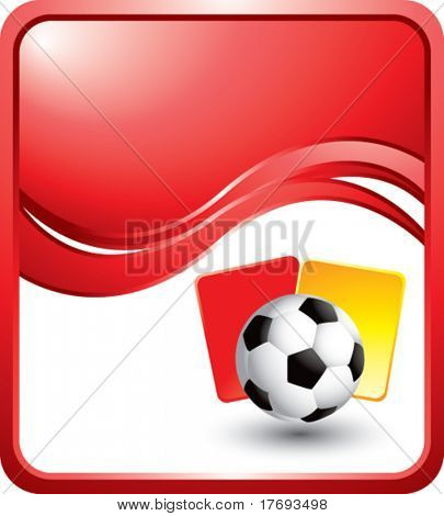 soccer ball with red and yellow cards on red wave background