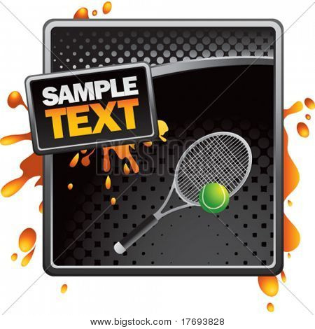 tennis racket on orange painted template background