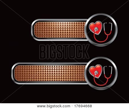 stethoscope and heart on brown checkered tabs