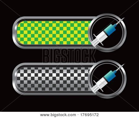needle syringe on checkered tabs