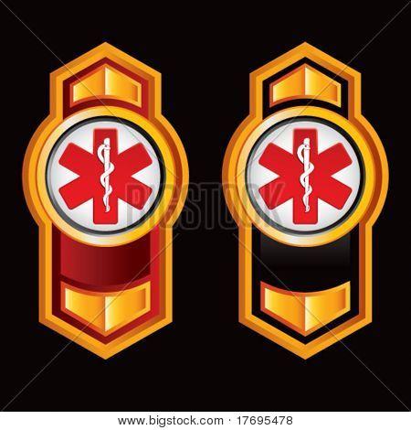 caduceus symbol on vertical arrow banners
