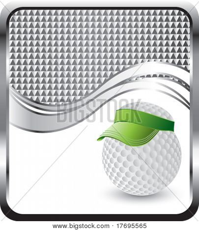 golf ball with visor on checkered wave backdrop