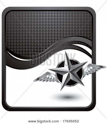 flying silver star on black checkered wave background