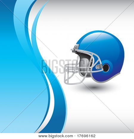 football helmet on blue wave background