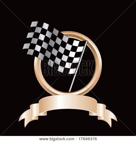 racing checkered flag on royal crest