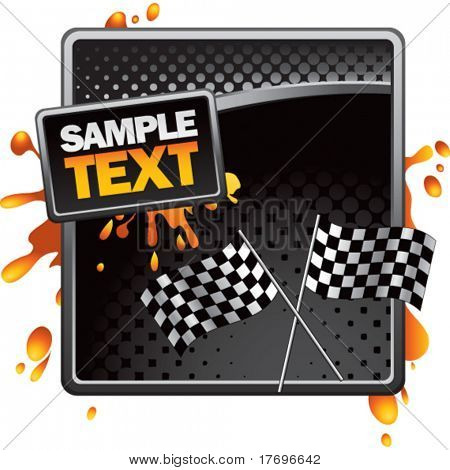 crossed racing checkered flags on grungy splattered background