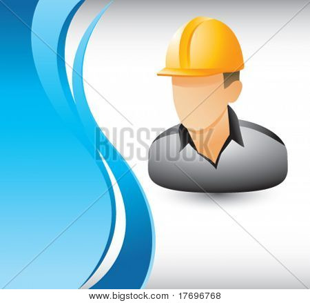 construction worker on vertical wave background