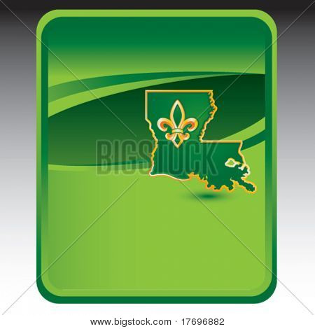 louisiana state shape on green background